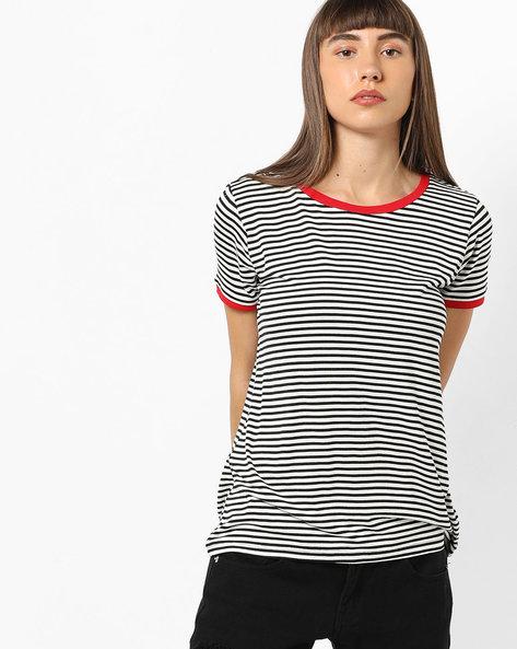 Striped Ringer T-shirt By AJIO ( White )