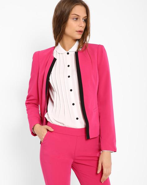 Jacket With Welt Pockets By AJIO ( Fuchsia )