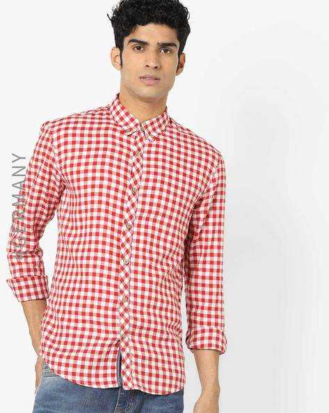 Checked Shirt With Curved Hem By Tom Tailor ( Red )