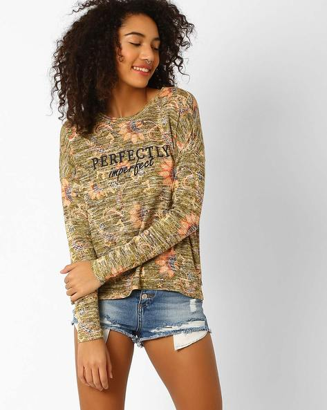 Floral Print T-shirt With Full Sleeves By Vero Moda ( Brown )