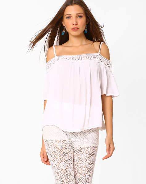 Cold-Shoulder Top With Lace By AJIO ( White )