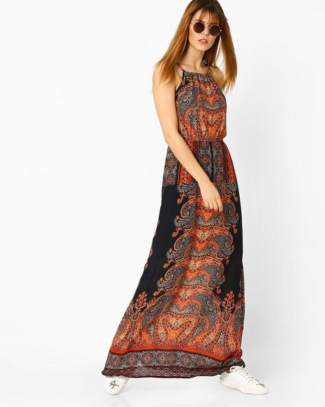 Printed Strappy Maxi Dress By Oxolloxo ( Multicolour )