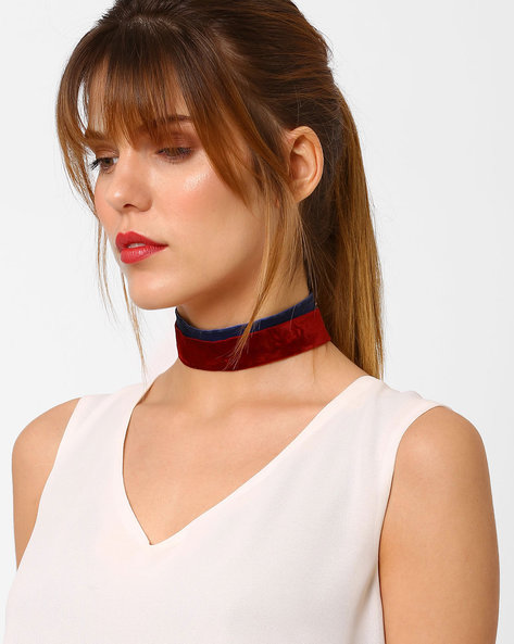 Set Of 2 Velvet Choker Necklaces By BLUEBERRY ( Blue )