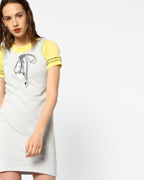 Striped Dress With Tie-Up Neckline By Teamspirit ( Ltgrey )