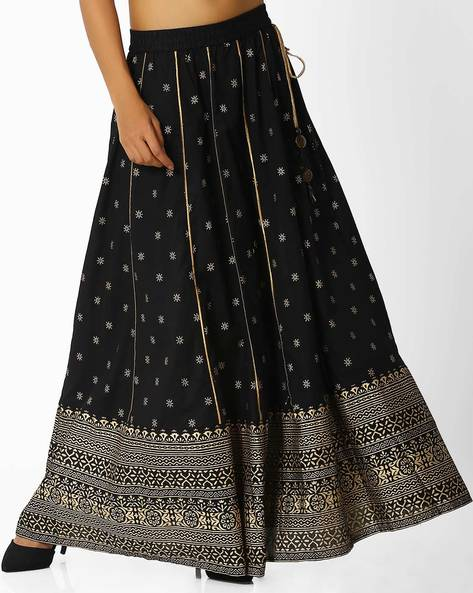 Printed Maxi Skirt By Melange By Lifestyle ( Black )
