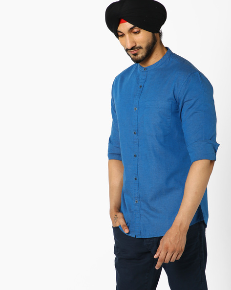 Slim Fit Shirt With Mandarin Collar By AJIO ( Blue )