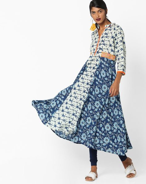 Floral Print High-Low Kurta With Embroidery By Shakumbhari ( Blue )