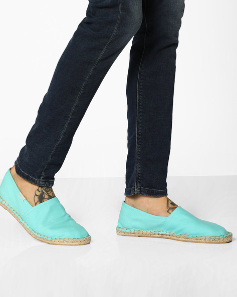 Canvas Espadrilles With Contrast Stitch By UNITED COLORS OF BENETTON ( Turquoise )