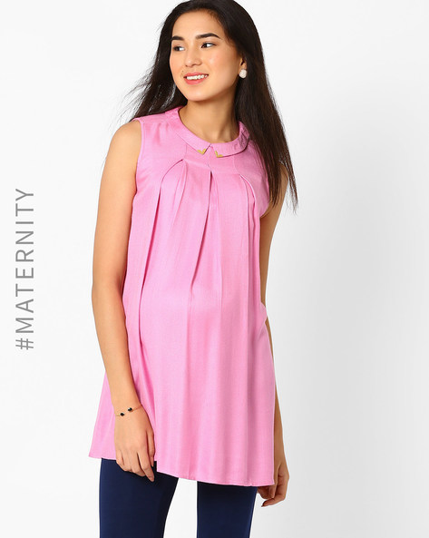 Pleated Maternity Tunic With Pointed Flat Collar By AJIO ( Mauve )