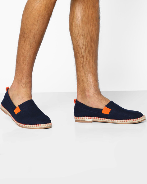 Panelled Espadrilles With Elasticated Gusset By AJIO ( Navy )