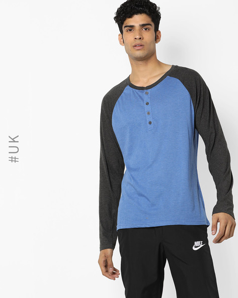 Henley T-shirt With Raglan Sleeves By BRAVE SOUL ( Blue )