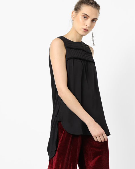 Sleeveless Top With High-Low Hem By Project Eve WW Casual ( Black )