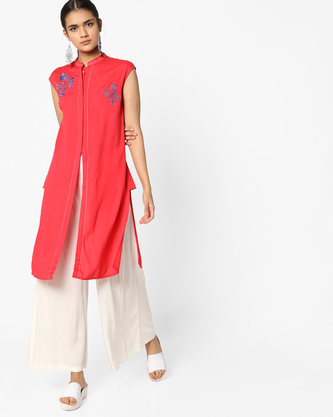 Mandarin Kurta With Front Slit By AJIO ( Peach )