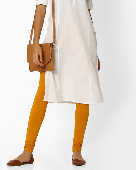 Knitted Leggings With Elasticated Waist By Shree ( Mustard )