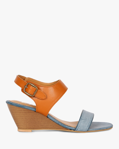 Colourblock Ankle-Strap Wedges By AJIO ( Blue )
