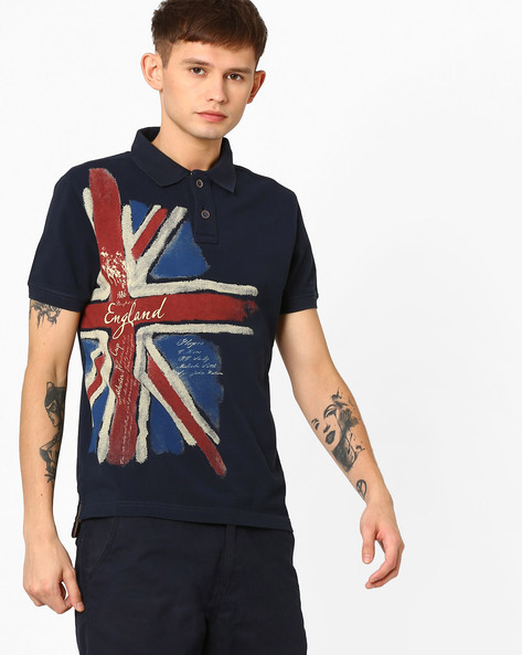 Graphic Print Polo T-shirt By US POLO ( Navy )