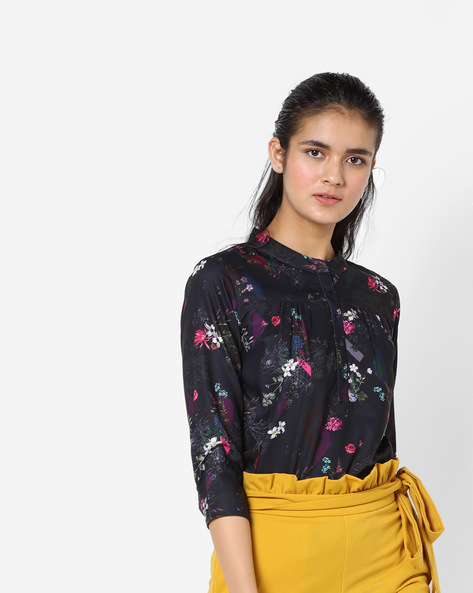 Floral Print Top By Project Eve WW Casual ( Darkblue )