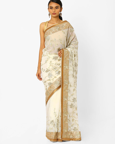 Georgette Designer Saree With Floral Embroidery By RCPC ( Beige )