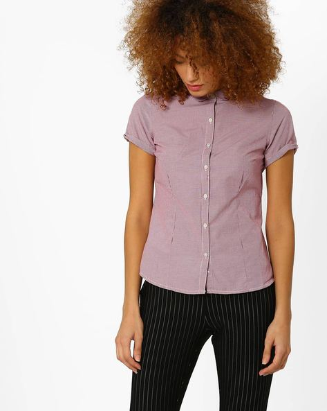 Pin-Checked Shirt With Peter Pan Collar By Annabelle By Pantaloons ( Burgundy )
