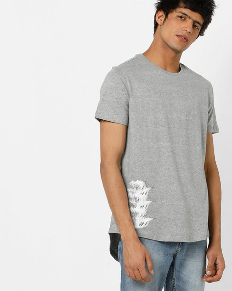 Long Tail T-shirt With Placement Print By AJIO ( Greymelange )