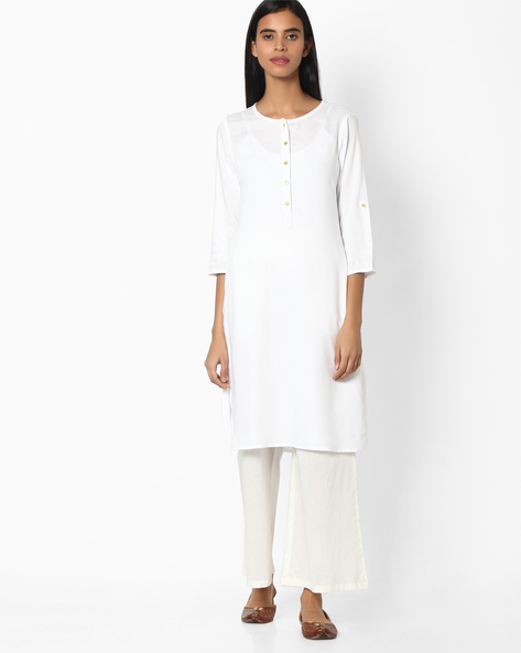 Straight Kurta With Front Placket By FUSION ( White )