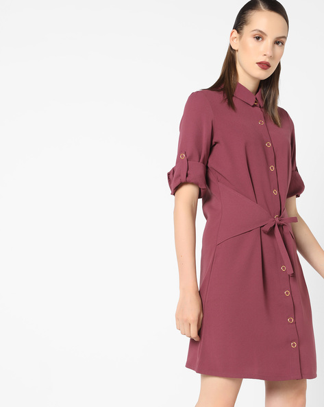 Collared Shift Dress With Tie-Up Belt Panel By AJIO ( Wine )