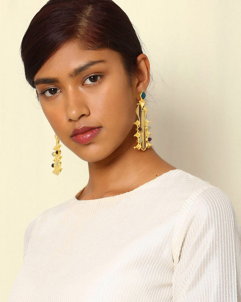Gold-Plated Statement Drop-Earrings By Indie Picks ( Multi ) - 460046728001