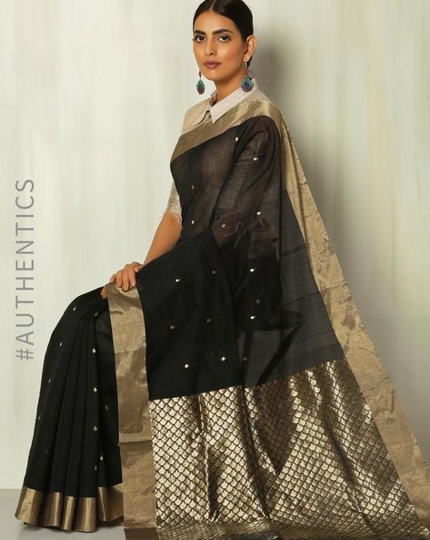 Handloom Pure Silk Cotton Chanderi Saree With Taraj Pallu By Indie Picks ( Black )