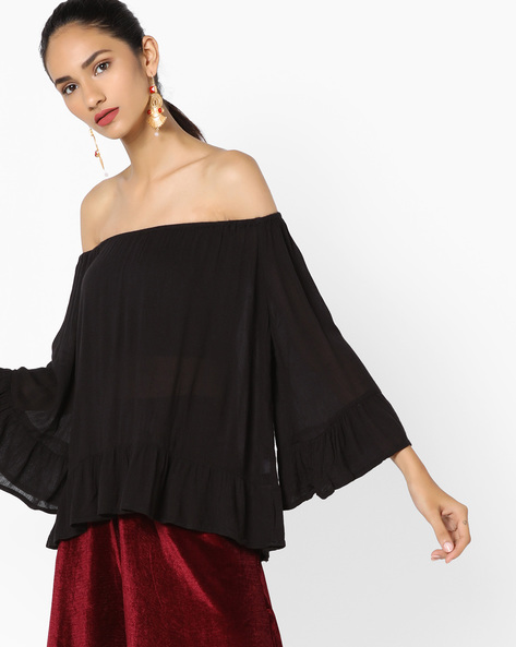 Off-Shoulder Top With Ruffled Hemline By Ginger By Lifestyle ( Black )