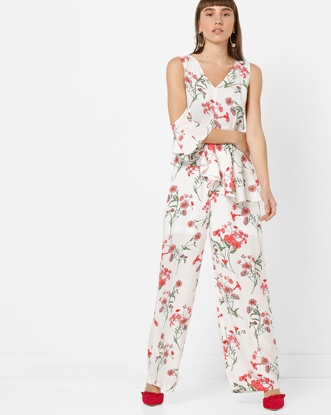 Floral Print Panelled Jumpsuit By AJIO ( White )