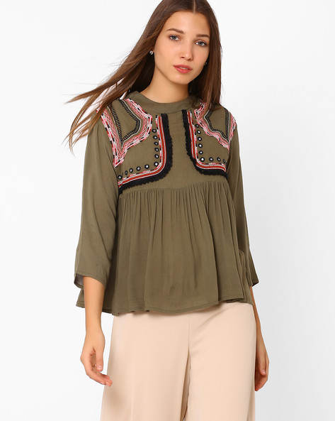 High-Neck Top With Embroidery By Rena Love ( Olive )