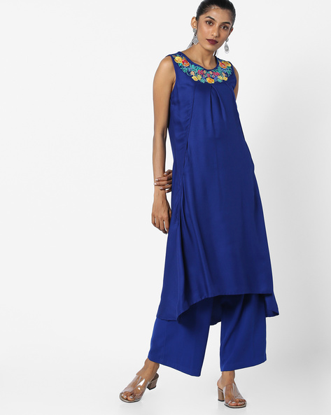 Asymmetric A-line Dress With Embroidery By Juniper ( Blue )
