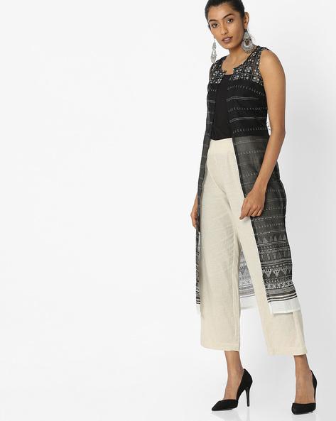 Geometric Print Sleeveless Jacket By Rangmanch By Pantaloons ( Black )