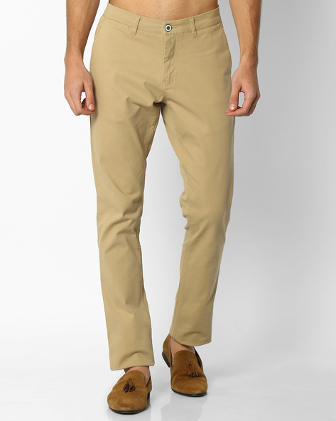 Mid-Rise Tapered Chinos By NETPLAY ( Khaki ) - 440690783043