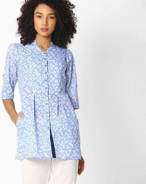 Printed Shirt Tunic By AYAANY ( White )