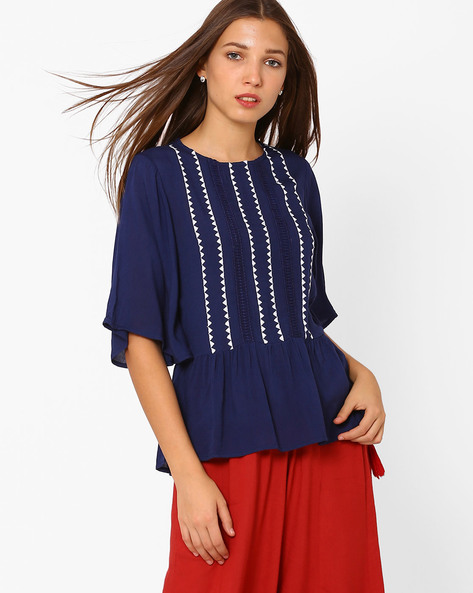 Peplum Top With Batwing Sleeves By Rena Love ( Navyblue )