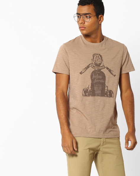 Classic Bike Print Cotton T-shirt By INDIAN TERRAIN ( Lightbrowngold )