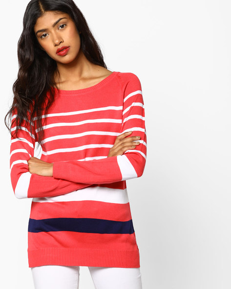 Knitted Colourblock Top By Fame Forever By Lifestyle ( Coral )