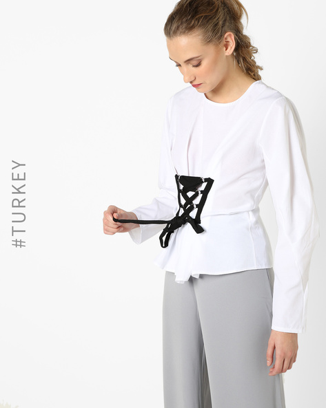 Full-Sleeve Top With Criss-Cross Waist Tie-Up By TRENDYOL ( White )