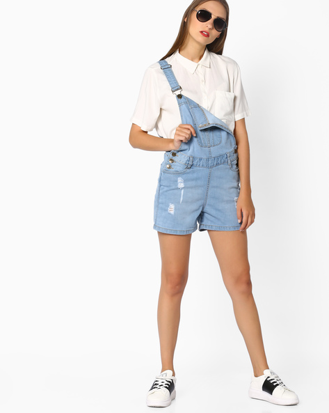 Denim Dungarees With Pockets By AJIO ( Lightblue )