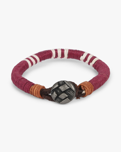Rope Bracelet With Metallic Accent By ALPHA MAN ( Maroon )
