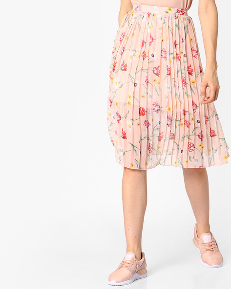 Floral Print Skirt With Knife Pleats By FIG ( Ltpeach )