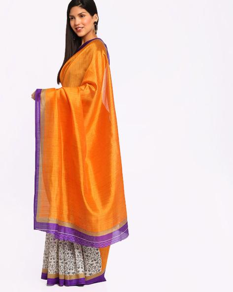 Printed Art Silk Saree By Satrang ( Yellow )