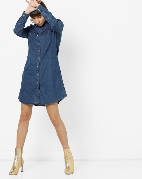 Denim Shirt Dress With Curved Hemline By LEVIS ( Indigo )