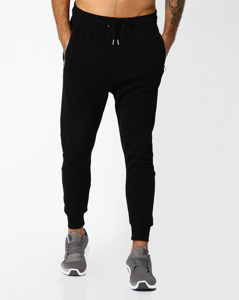 Waffle Knit Joggers With Zipper Pockets By ADAMO LONDON ( Black )