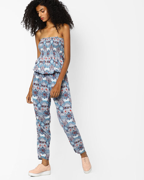 Printed Off-Shoulder Jumpsuit By Ginger By Lifestyle ( Lightblue )