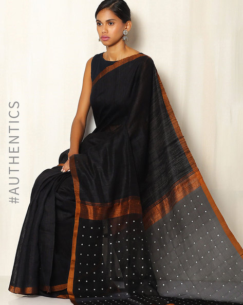 Handwoven Bengal Pure Silk Matka Saree With Embellishments By Indie Picks ( Black )