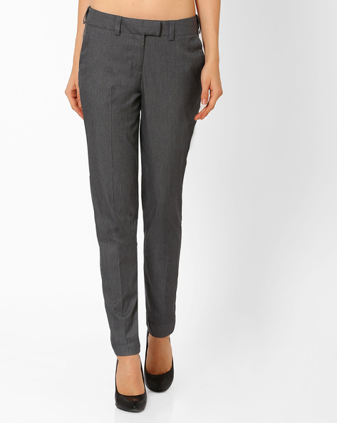 Ankle-Length Trousers By AJIO ( Grey )