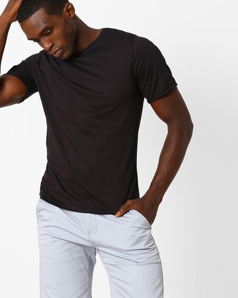 Cotton Crew-Neck Slim T-shirt By Blue Saint ( Black )
