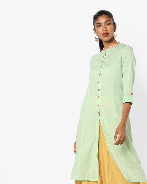Foil Print Shirt Kurta With Roll-Up Tabs By AJIO ( Green )
